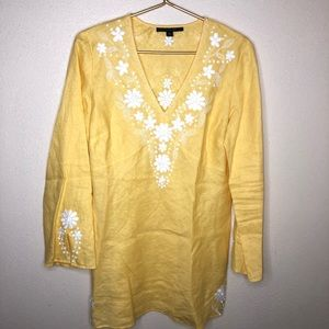 LAFAYETTE 148 || yellow linen embellished blouse